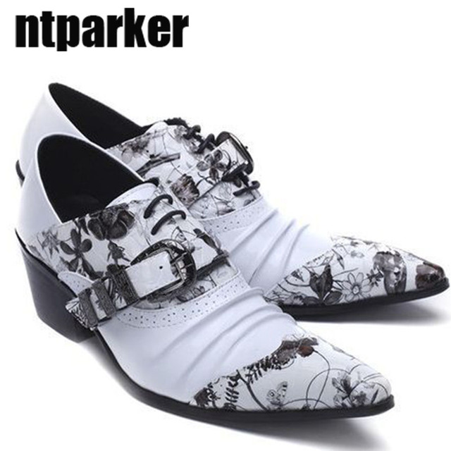 ntparker YBig Sizes 45 46 Man s Shoes ITALY Style pointed toe high heels  man s leather shoes print business leather dress shoes b305dd74d80b