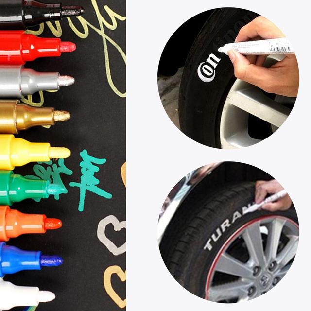 Car-stylingWaterproof samochodu marker z farbą Scratch Repair Pen Remover malowanie marker do malowania pióro samochód opona gumy bieżnika 10 kolorów tanie i dobre opinie vvcesidot Plastic Car Paint Pen Malarstwo długopisy 1 5cm 14 3cm car Scratch Repair Pen Painting Paint Marker Pen Car Tyre Tire Tread Rubber