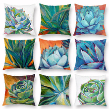 Succulent Plants Cushion Cover Green Pillowcase for Sofa Car Living Room Decorative Accessories Home Fresh Decor Polyester 45x45 цены