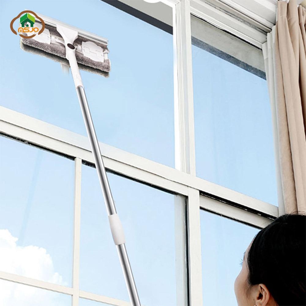 MSJO Window Cleaner Brush Long Handle Telescopic Rod Rotating Head Window Cleaner Silicone Scratch High Build Window Glass Wiper
