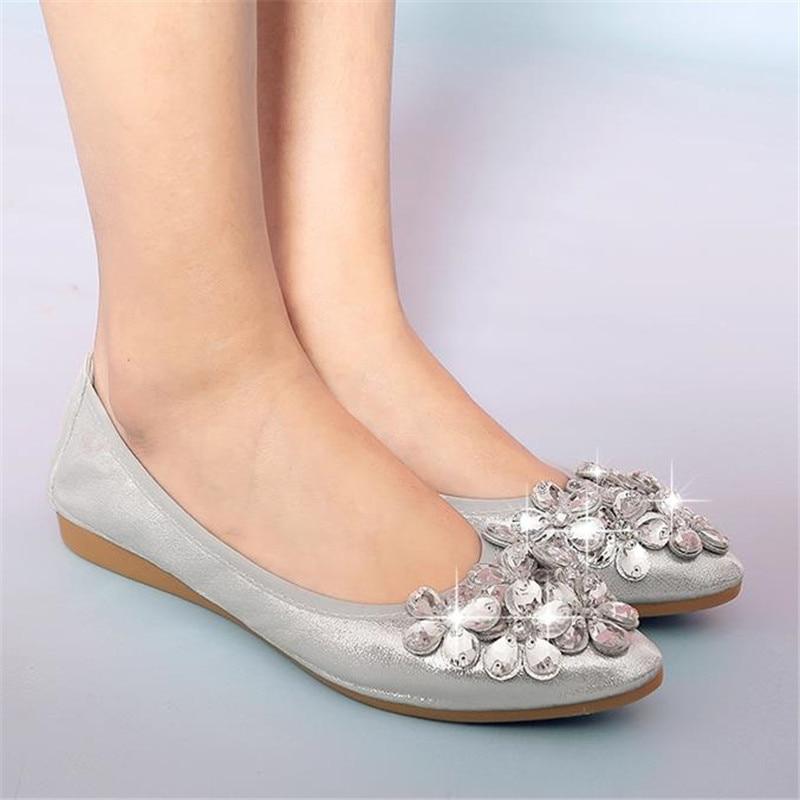 Del Mujeres Tamaño Y 20167 Dedo Las 33 Suave Plano Más Boca Baja Puntiagudo 45 gris Zapatos De Solos Oro Fondo Otoño Primavera Rhinestone Pie ETrwnYxTqH
