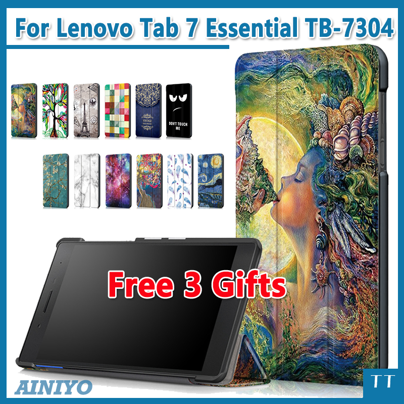 High quality case for 2017 Lenovo Tab 4 Tab4 7 Essential TB-7304 TB-7304F TB-7304I TB-7304X 7protective case Cover+free 3gifts for lenovo tab 7 essential case maple leaves grain pu leather cover for lenovo tab 7 tb 7304f tb 7304i tb 7304x tablet case gift
