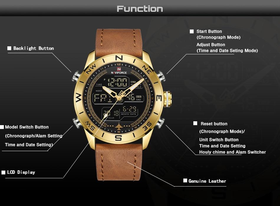 f6df6ffd0f4e Compre NAVIFORCE 9144 Homens Moda Relógios Esportivos De Ouro Dos ...