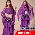 2016 4 Cores New Sexy Traje de Dança Do Ventre Conjunto de Dança Do Ventre 5 pcs (top + cinto + saia + veil + headwear) Trajes Indianos de Bollywood Desgaste