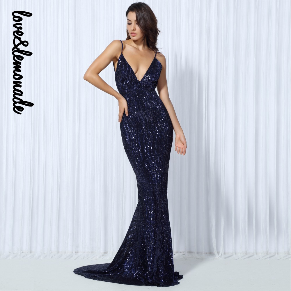 Love&Lemonade . Elastic Sequin V Collar Exposed Back Long Dress NAVY/SILVER/PINK/BLACK/RED/Champagne LM80119