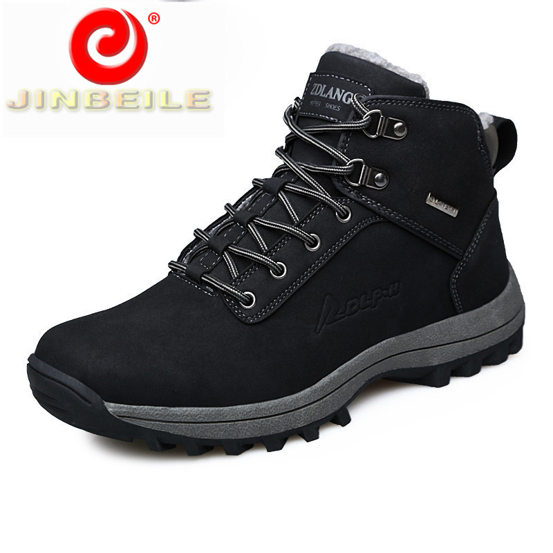 JINBEILE Solid Winter Warm Men Hiking Shoes Woolen Waterproof Outdoor Sport Shoes Men Wear Resistant Big Size Sneakers Men 39-46 mulinsen brand new winter men sports hiking shoes cowhide inside keep warm sport shoes wear non slip outdoor sneaker 250666