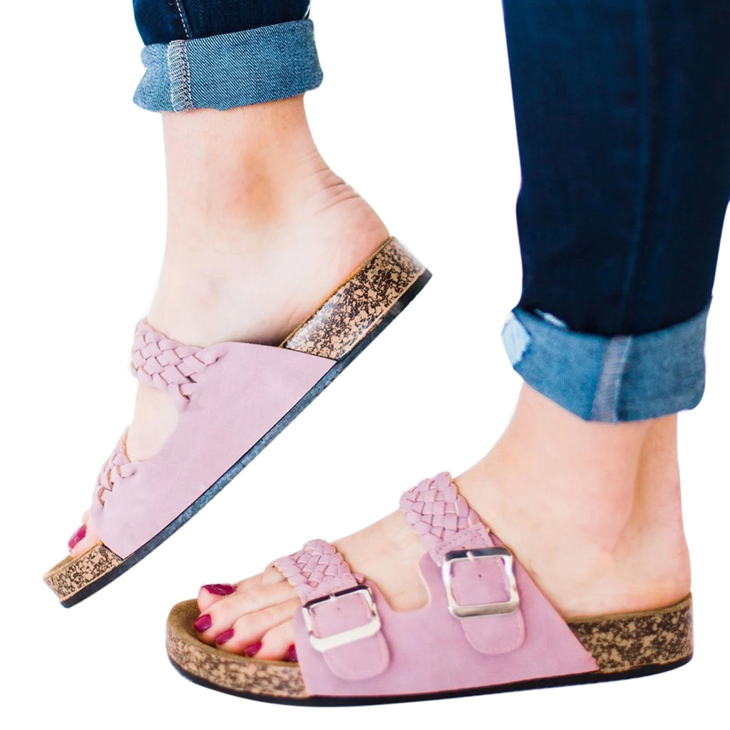 Women Cork Flip flops comfy platform