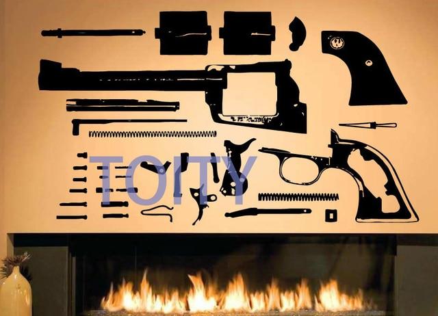 Revolver gun muursticker wapen pistol vinyl decal patroon kamer