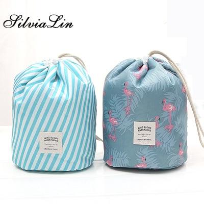 78d199d708 Fashion Barrel Shaped Travel Cosmetic Bag Drawstring Makeup Bag Elegant  Drum Wash Kit Make Up Bag Organizer Storage Beauty Bags