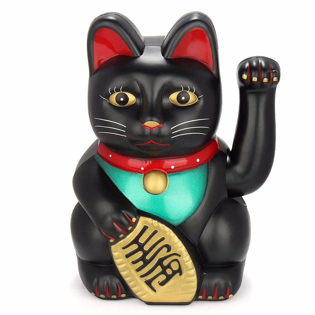 Black 5inch / 12.5cm Feng Shui Beckoning Cat Wealth Fortune Lucky Waving Kitty Decor lucky cat black