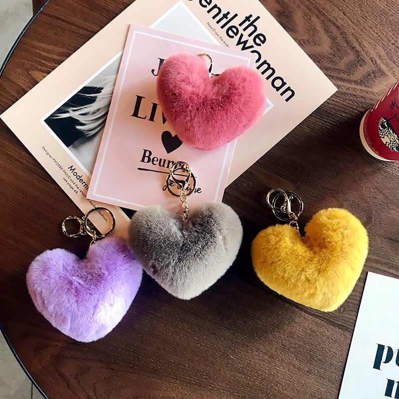 Hợp thời trang Bóng Trái Tim Pom Pom Móc Khóa Lông Tơ Lông Thỏ giả Pompom Móc Chìa Khóa Túi Nữ Quyến Rũ Thiền Trượng Phụ Kiện Móc Khóa Llavero