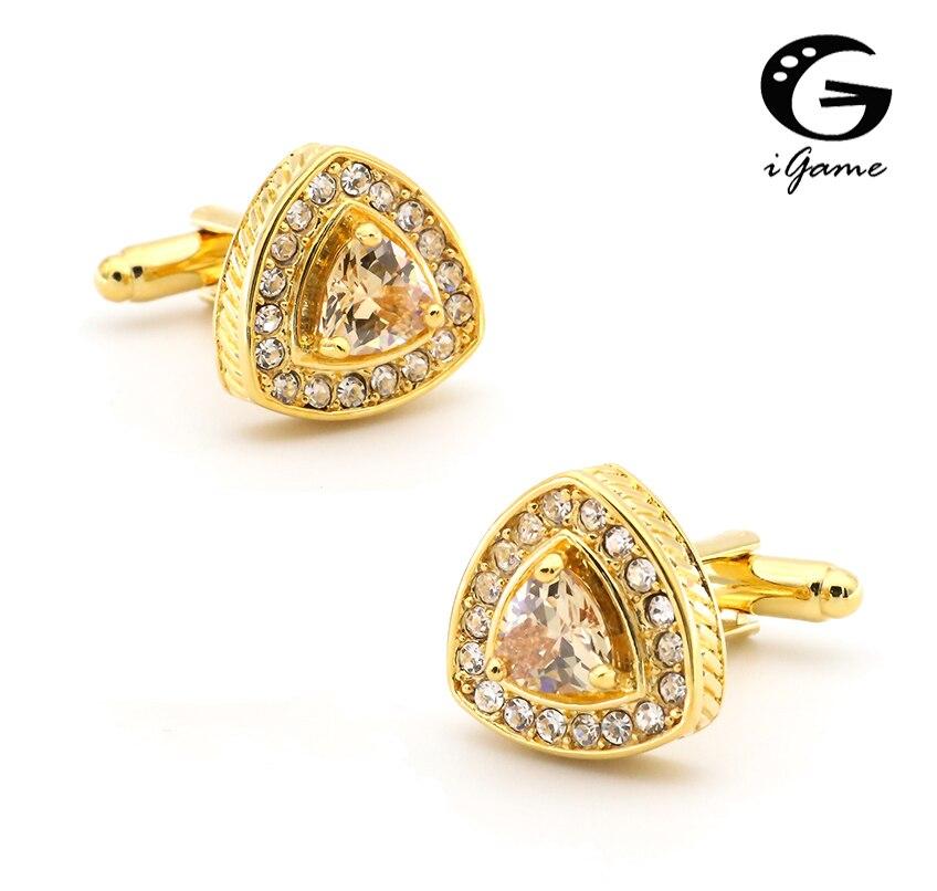 iGame Crystal Manžetové knoflíčky Maloobchod Zlatá barva Trojúhelník Design Kamenné dekorace Nejlepší dárek pro muže Svatební Manžetové knoflíky Doprava zdarma