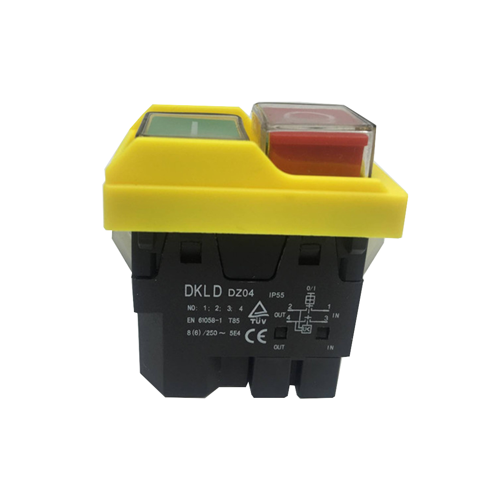 DKLD DZ04 4 Pins Waterproof Electromagnetic Push Button Switches Start Stop Switch for Grinding Machine 250VAC 8(6)A on off start stop push button pushbutton switch 87x56mm with dust cover