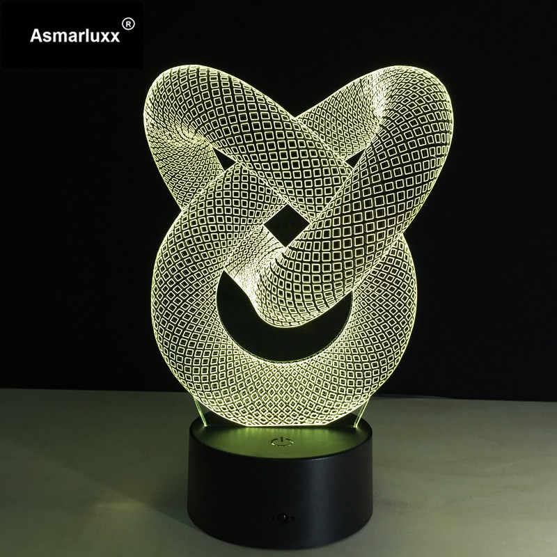 Любовь Узел абстрактный круг спиралевидная лампочка 3D светодиодный свет голограмма иллюзии 7 цветов Изменение Декор лампа лучший Ночник подарок бесплатно