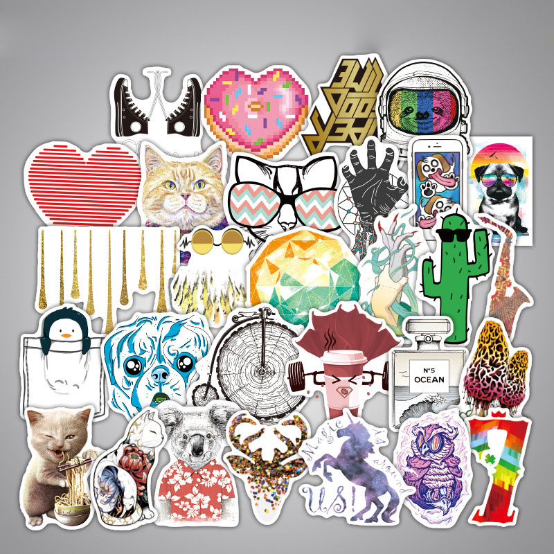 100pcs Stickers Do Not Repeat Three Colors Optional Laptop Luggage Modeling Skateboard DIY Funny Stickers Waterproof F884Z
