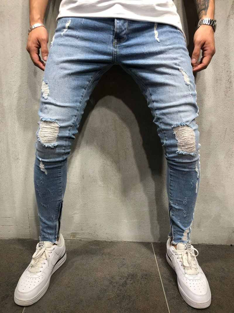 1805fe512e2 ... Streetwear Men hip hop Side white strip skinny jeans Distressed Knee  Holes Ripped high quality Stretch ...