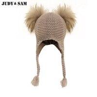 Judy & Sam Piel auténtica pompom sombrero para niños earflap Niños CAPS con doble Pieles de animales POM punto Beanie sombreros para niñas
