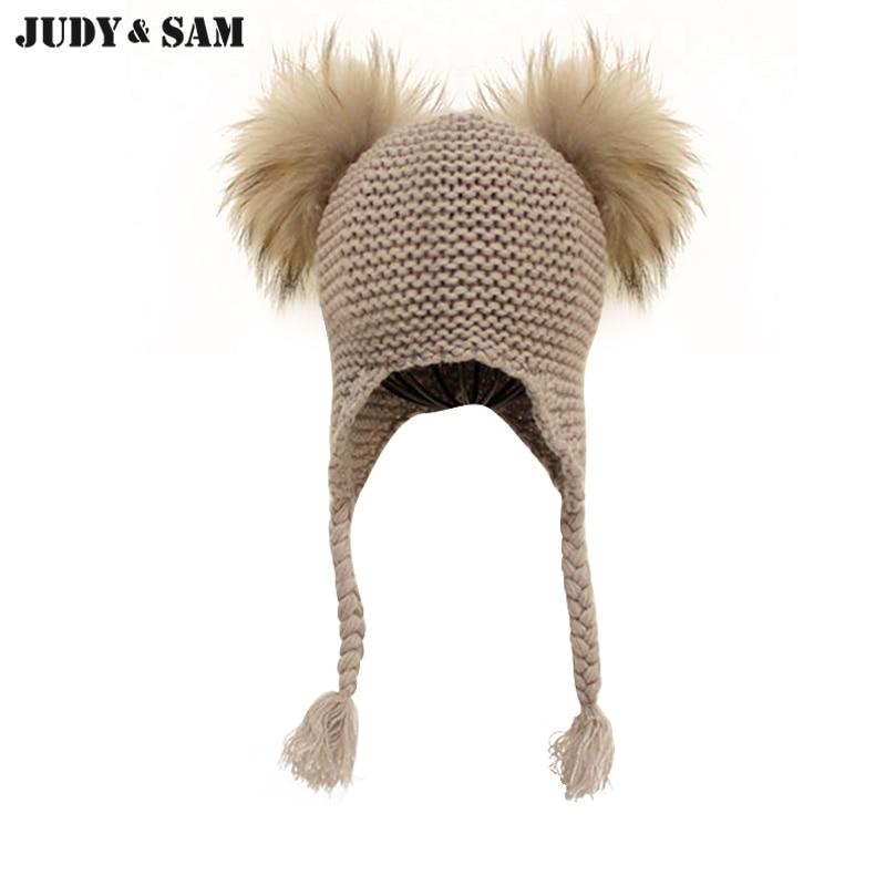 Judy & Sam Real klobouk na kožené pomůcky pro děti Earflap Boys Kšiltovky s dvojitým koží Pom Pom Pletené čepice klobouk pro dívky