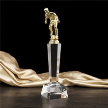 Football Oscar Statuette K9 Crystal Trophy Cup Customizable Soccer Match BEST Player Activity Award Trophies Gift Box Souvenir 27cm diamond tops crystal trophy cup encourage souvenir for championship 1pc