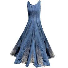 Размера плюс 3XL! винтажное летнее джинсовое платье, женские платья с круглым вырезом, без рукавов, сарафан с вышивкой, платье на бретелях