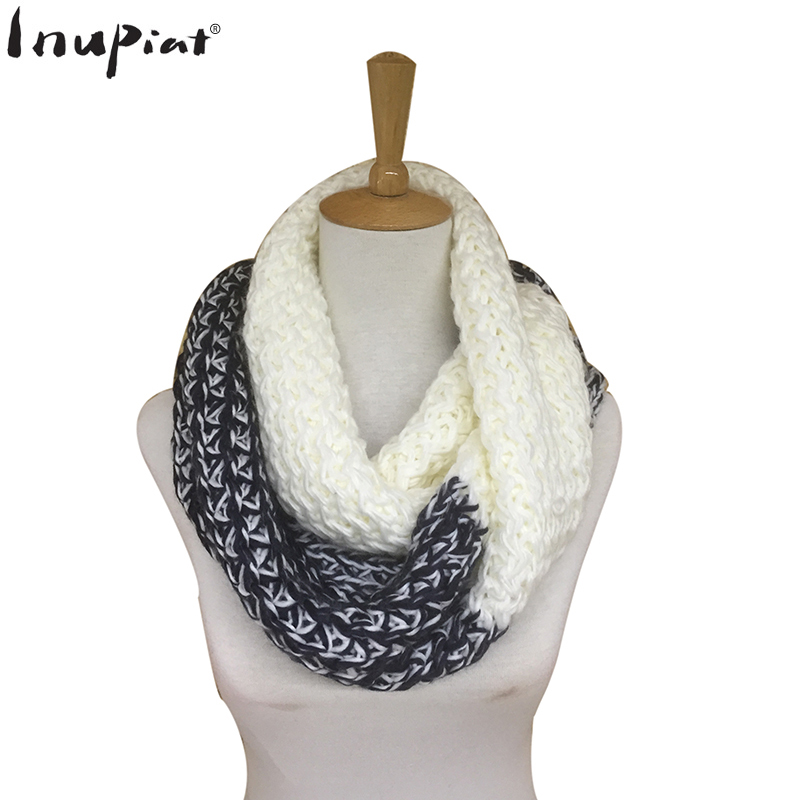Stylish Warm Ring Scarf for Women Super Soft Cotton Knitted Stole Scarves Two Colors Patchwork Long Mufflers for Ladies