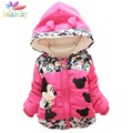 Belababy Baby Girls Jackets 2017 Children Autumn Thick Warm Coat Kids Cartoon Outerwear Warm Hooded Jackets For Girls