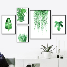 Green Leaves Tropical Plant Watercolor Wall Art Canvas Painting Nordic Posters And Prints Pictures For Living Room Decor