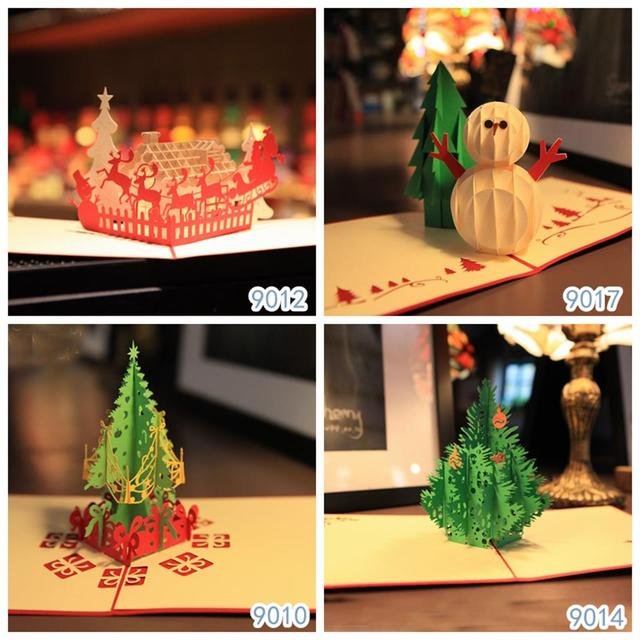 christmas card handmade greetings cards kirigami 3d pop up cards vintage theme free shipping combination sale - Christmas Card Sale
