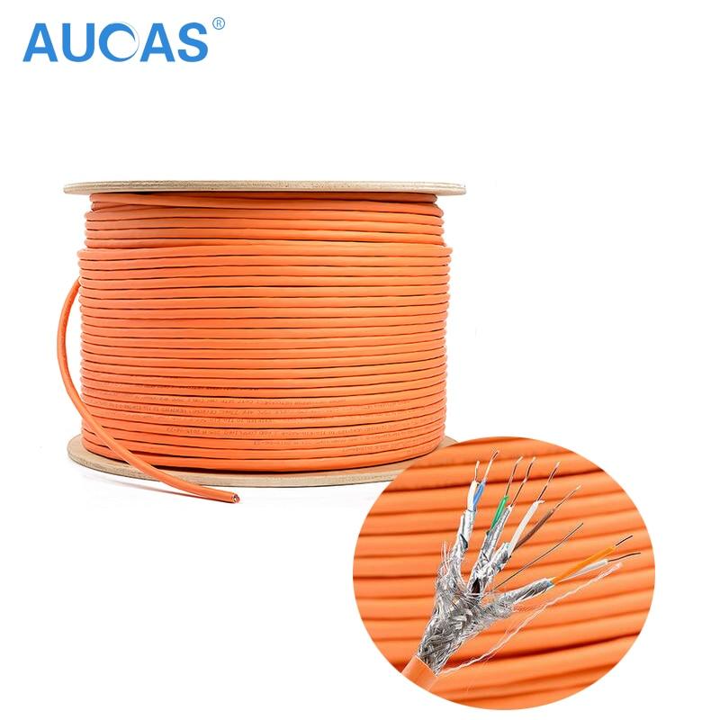 AUCAS Högkvalitativ 50M 100m Cat7 Lan-kabel Skärmad 10Gigabit nätverkskabel CAT7 Ethernet LAN-kabelledning LSOH Patch Cord