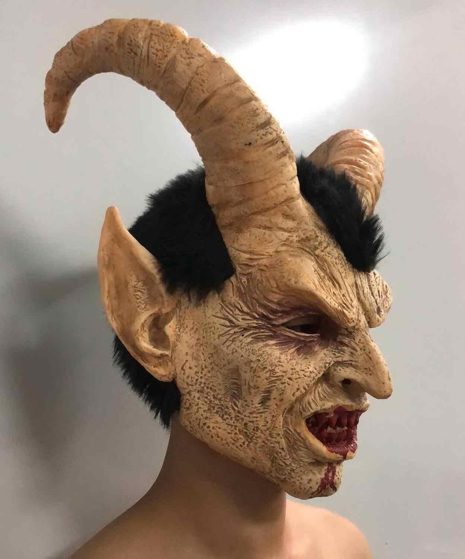Kigurumi Halloween Cosplay Kambing Masker Horor Rakasa Helm Topeng Alat Peraga Teror Lateks Menakutkan Otak Pesta Masker Zombie