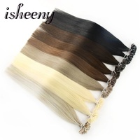 Isheeny 14 18 20 22 24 Remy Keratin U Tip Hair Extensions Silky Straight Pre Bonding Human Hair Extension Natural 50pcs