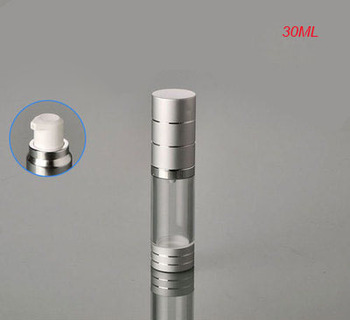 Hot 30ML silver aluminium airless bottle ,plastic lotion bottle with airless pump for Cosmetic Packaging