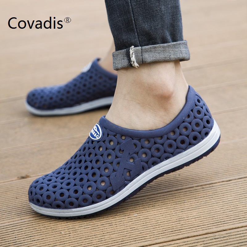 740b3057fd7e1 Men sandals 2018 fashion summer breathable honeycomb beach flats ...