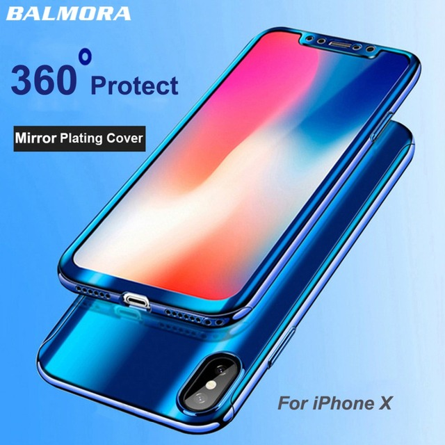 c91096e3ac7 BALMORA 360 Plating Mirror Phone Case For iPhone X XR XS Max Full  Protection Cases For Apple iPhone 7 8 6 6s plus Coque Fundas