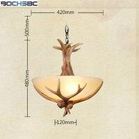 BOCHSBC Европейский смолы рога подвесной светильник металлической цепью Ретро лампа для Гостиная кафе столовая рождественских подвесные свет