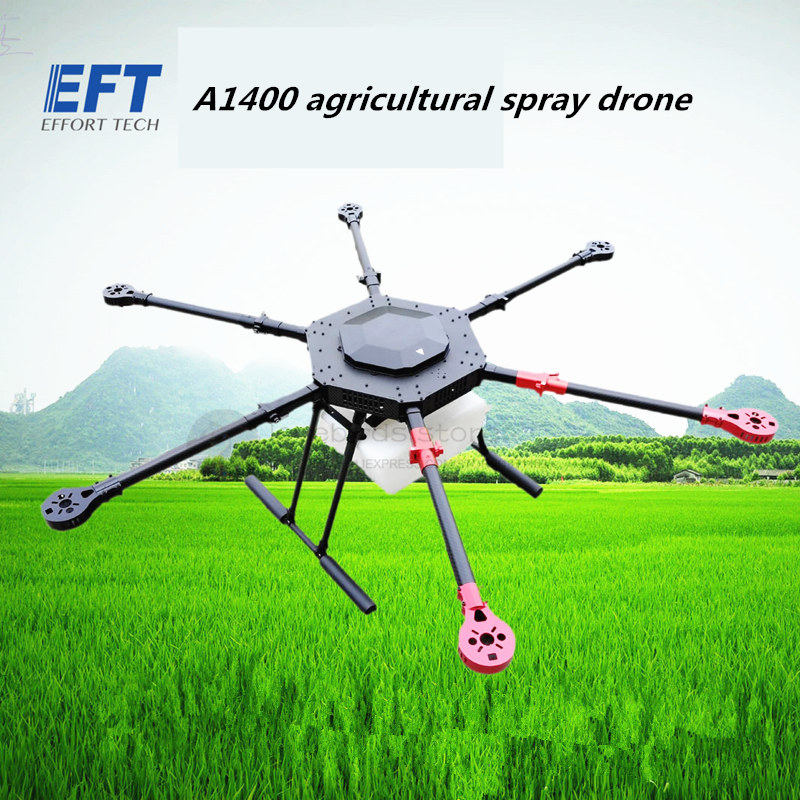 EFT DIY A1400 10L / 10KG Agriculture spray hexacopter drone 1400mm pure carbon fiber annular folding frame kit wing arm spraying