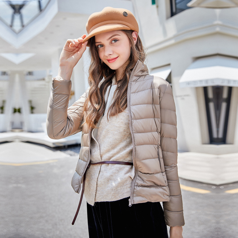 2018 Winter Casual Warm Light White Duck Feather   Down   Jacket Women Stand Collar Slim Short   Down     Coat   Outwear Plus Size Jacket