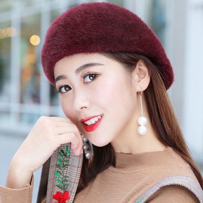 Cachemira visón sombrero de la boina femenina invierno hecho punto conejo  sombreros gorras señora mediana edad 9ac6e3492d0c