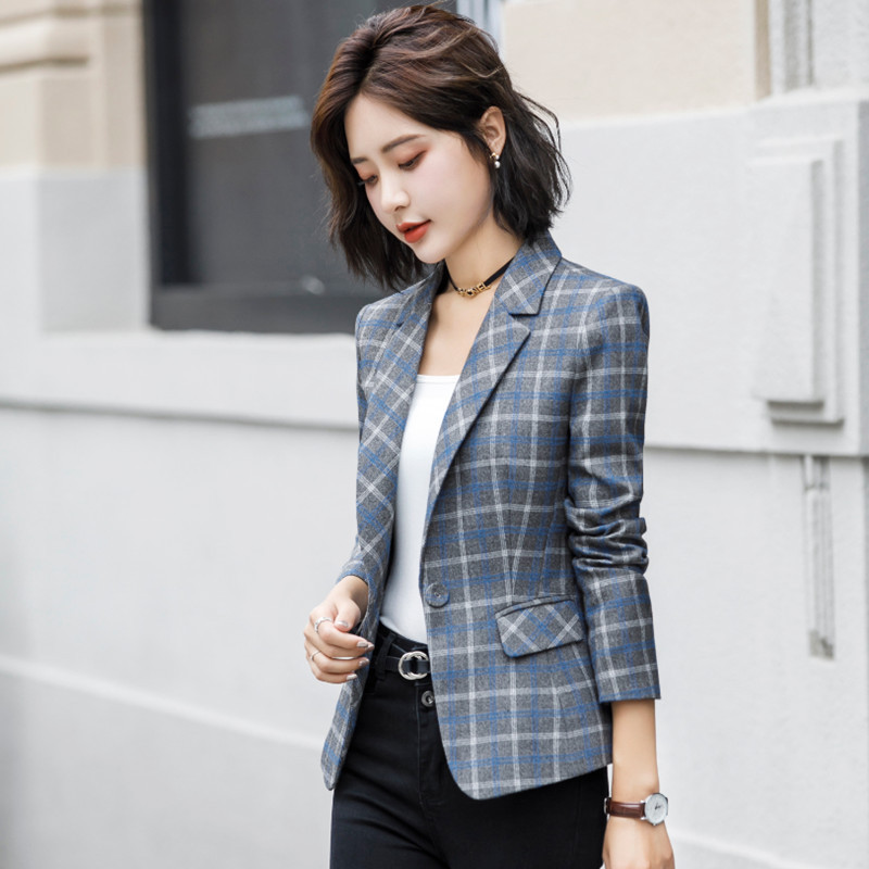 Professional Women's Suit Suit Fashion Temperament In Autumn And Winter 2019 Slim Checked Small Suit Overalls