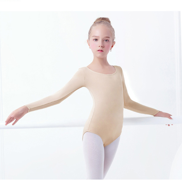 bc7715a9a18d1 Free Shipping & Top Quality Kids Nude Color Long Sleeve Ballet Dance Basic  Leotard for Practicing A0002