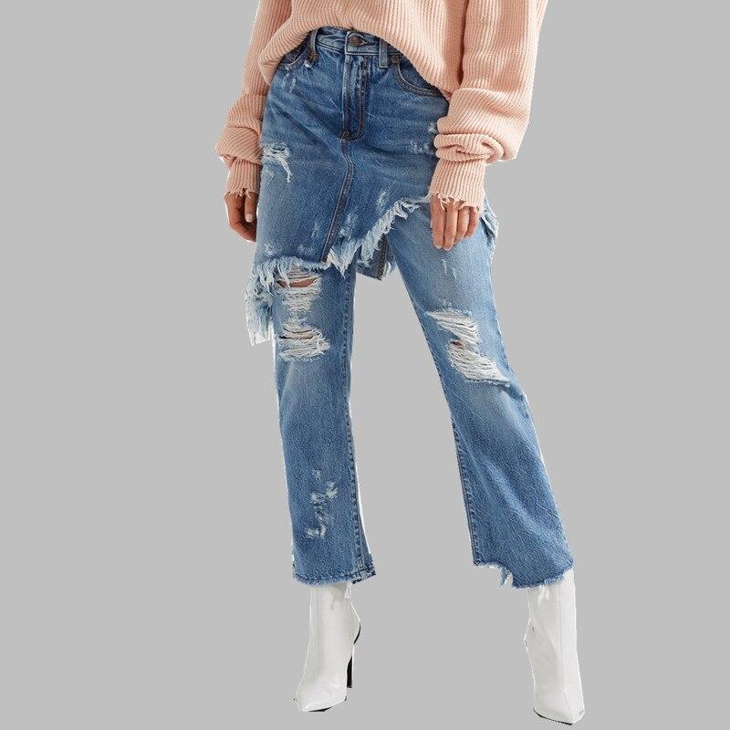 HAMALIEL Women Runway Irregular   Jeans   Summer High Street Tassel Hole Denims Fashion Fake Two-Piece Ripped Flare Pants