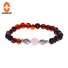 HAOHUPO Natural Amber Bracelets with Rose Quartz for Women Baltic Amber Fish Baby Jewelry Adult Gifts Elastic String Pulseras