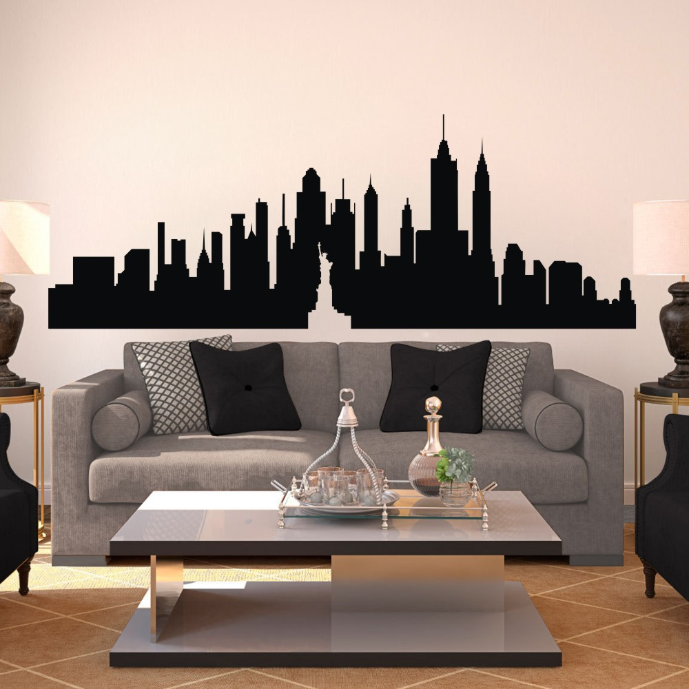 new york city skyline silhouette the big apple wall sticker nyc vinyl wall decal art home decor. Black Bedroom Furniture Sets. Home Design Ideas