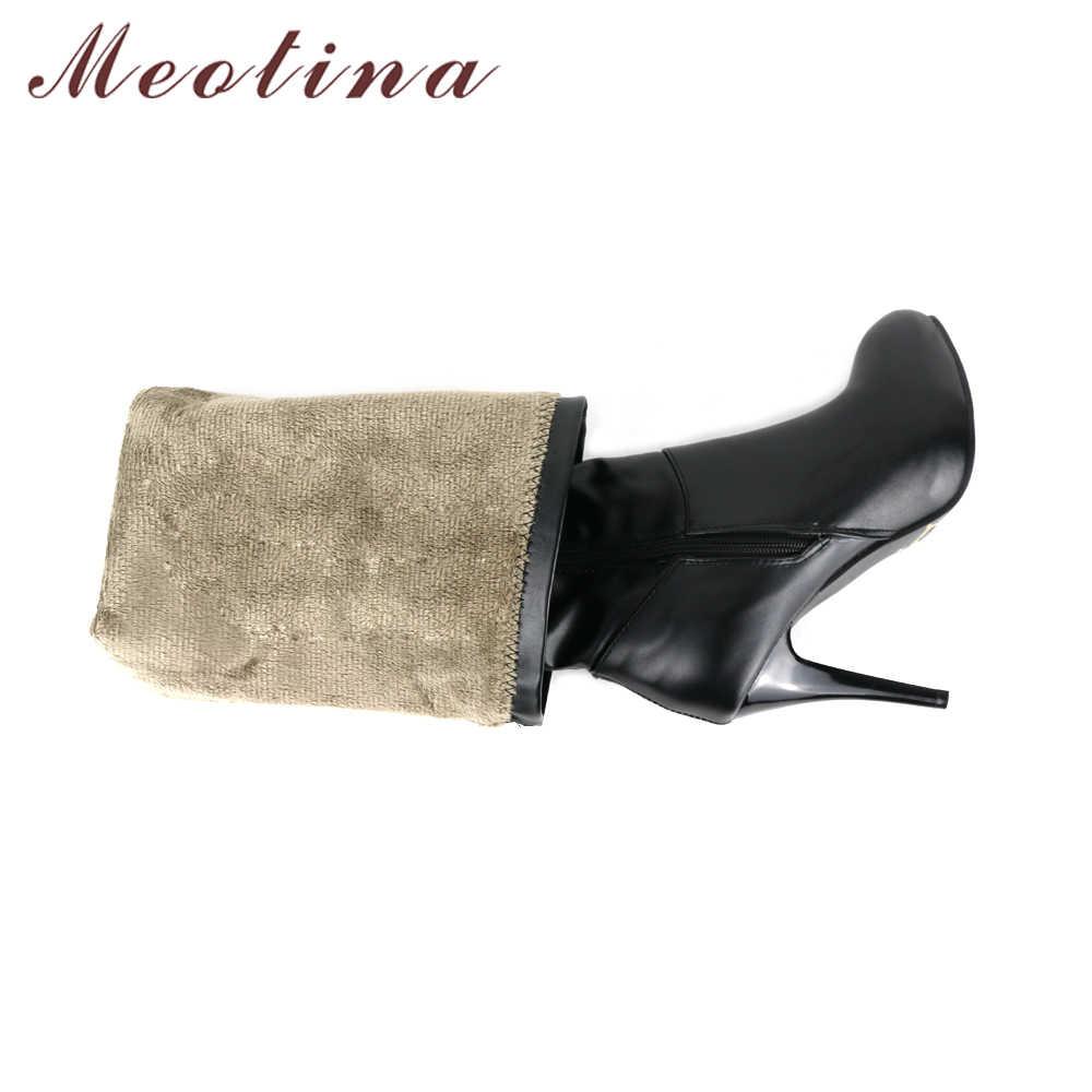 Meotina/женские ботфорты выше колена высокие сапоги до бедра высокие сапоги на платформе и высоком каблуке зимняя обувь ручной работы белого цвета размера плюс 10, 44, 45
