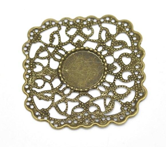Zinc Metal Alloy Embellishments Findings Square Antique Bronze Cabochon Settings Flower Hollow4.5cmx4.3cm,5 PCs