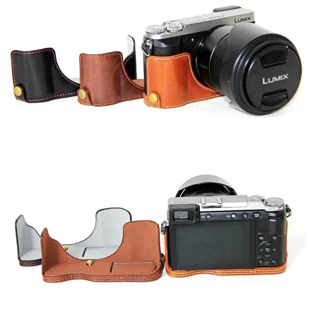 Camera bag half cover bottom case PU Leather case for For Panasonic Lumix DMC GX80 DMC-GX85 GX80 GX85 Camera Half Body Set