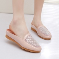 Ladies slip-on personalizados homem casual soft insole close toe slides rhinestone and crystal mesh shoes med heel pink white