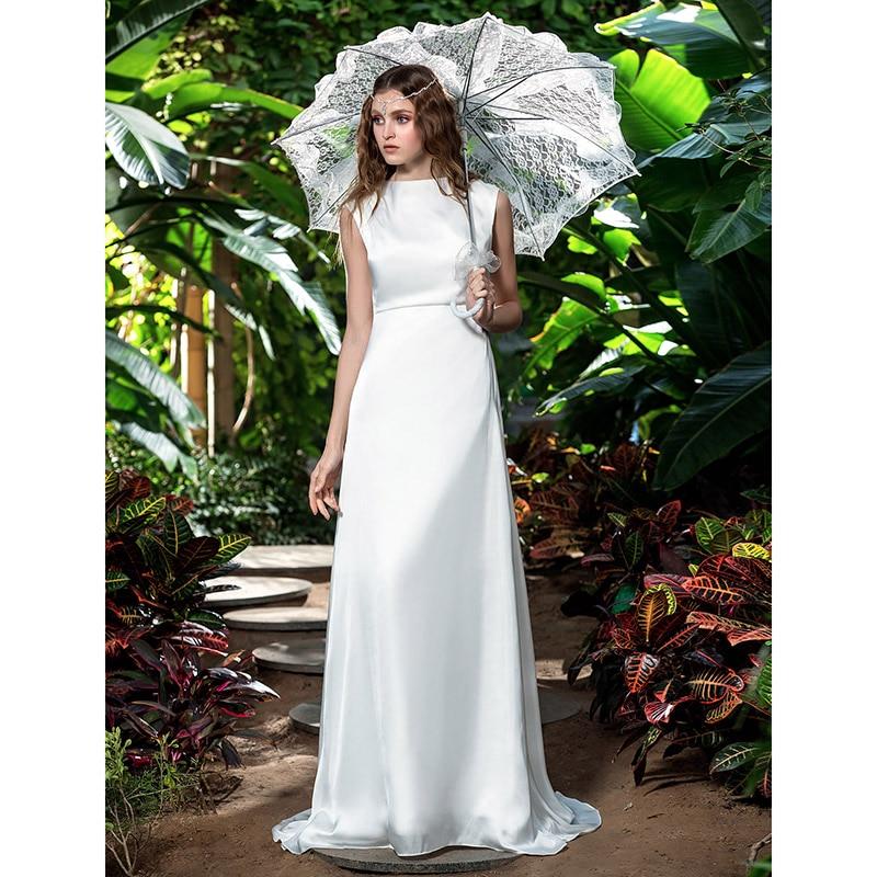 756ec9dd95 LAN TING BRIDE Sheath   Column Bateau Neck Sweep Brush Train Wedding Dress  ...
