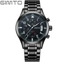 Luxury Watch Men Famous Brand GIMTO Business Men Watch 2017 Casual Quartz Watch Stainless Steel Men