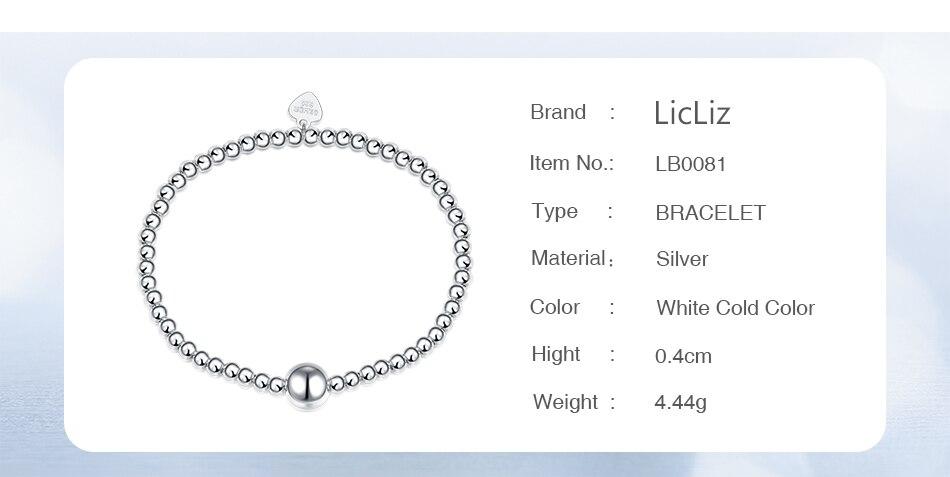 HTB1nrtQaLb2gK0jSZK9q6yEgFXaU LicLiz 2019 925 Sterling Silver Adjustable Strand Bracelet for Women Round Ball Charms Beaded Chain Elastic Heart Jewelry LB0081